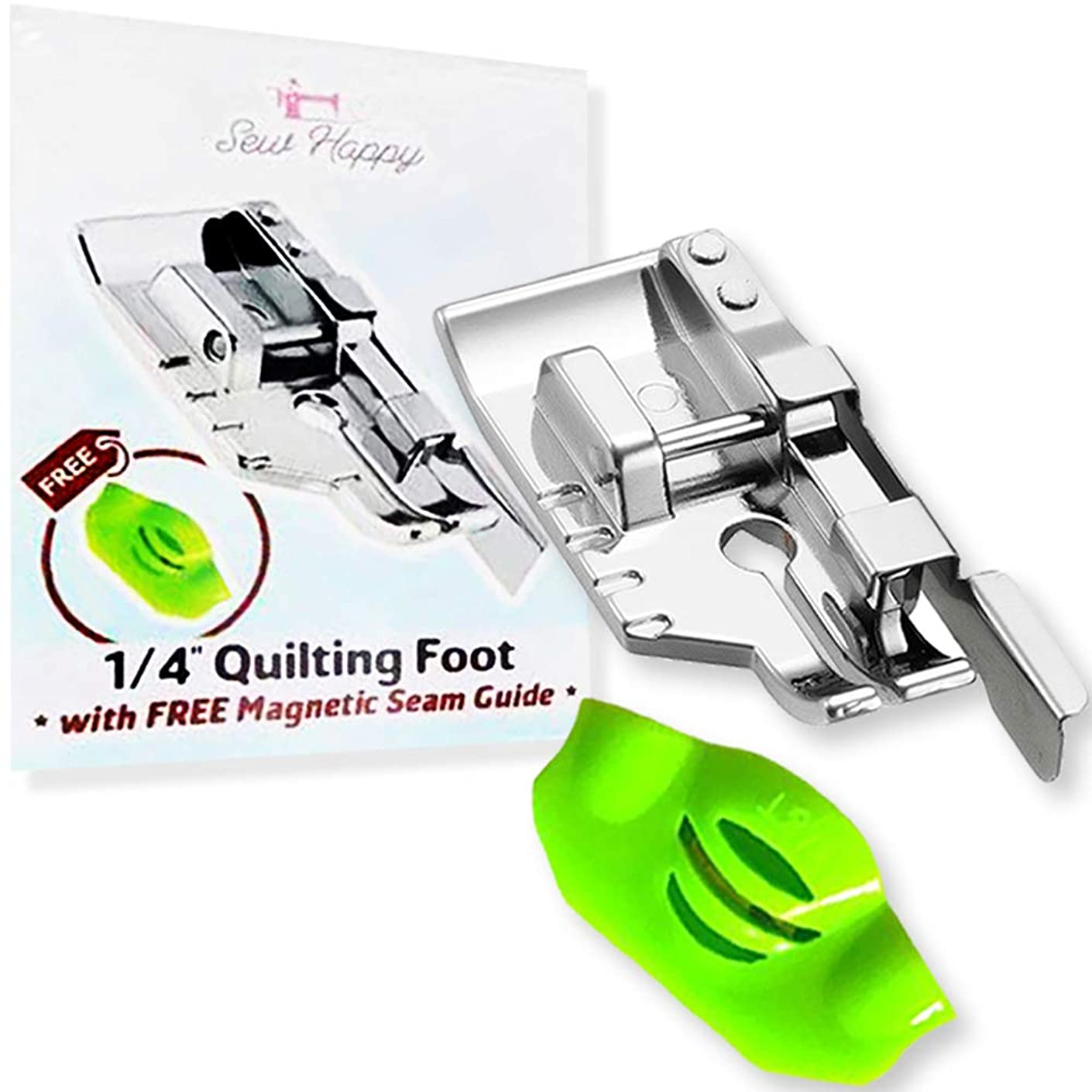 "1/4 Inch ""Perfect Seam Every Time"" Quilting Presser Foot - Includes Free Magnetic Seam Guide - Fits Most Sewing Machines"