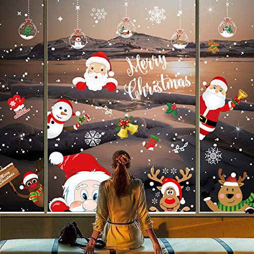 KUCHEY 318Pcs 12Sheets Christmas Snowflake Window Clings Stickers, Christmas Decorations Xmas Window Decals Santa Snowman Reindeer Winter Static Wall Stickers for Holiday Party Decor