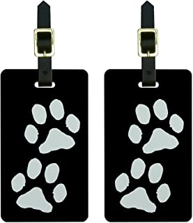 Graphics & More Paw Prints Black Luggage Tags Suitcase Carry-on Id, White
