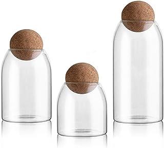 Les récipients en verre avec du liège de stockage des aliments Flacons Pot de cuisine rangement for thé en vrac grain de c...