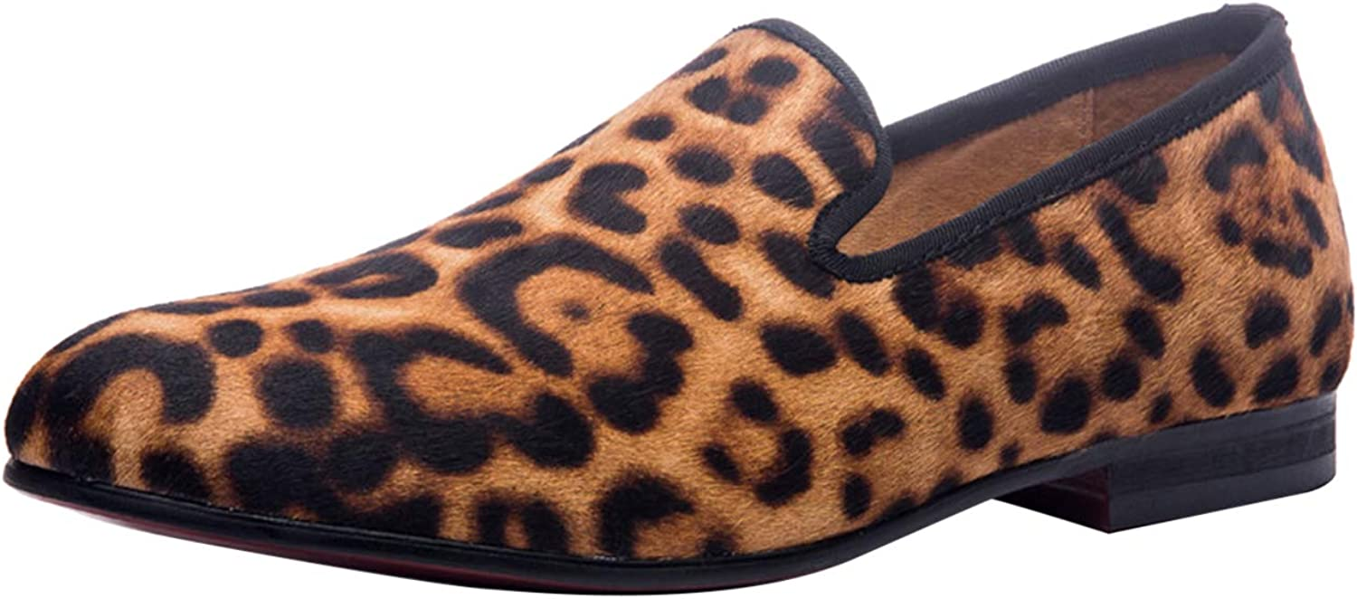 Santimon Mens Velvet Slip on Loafers Casual Dress Mocassin shoes with Leopard Print Brown