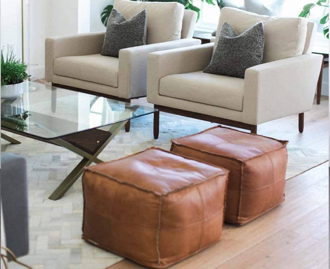 Set of 2 Pouf Cover Made Original Leather Be super welcome Japan Maker New from Piec Moroccan