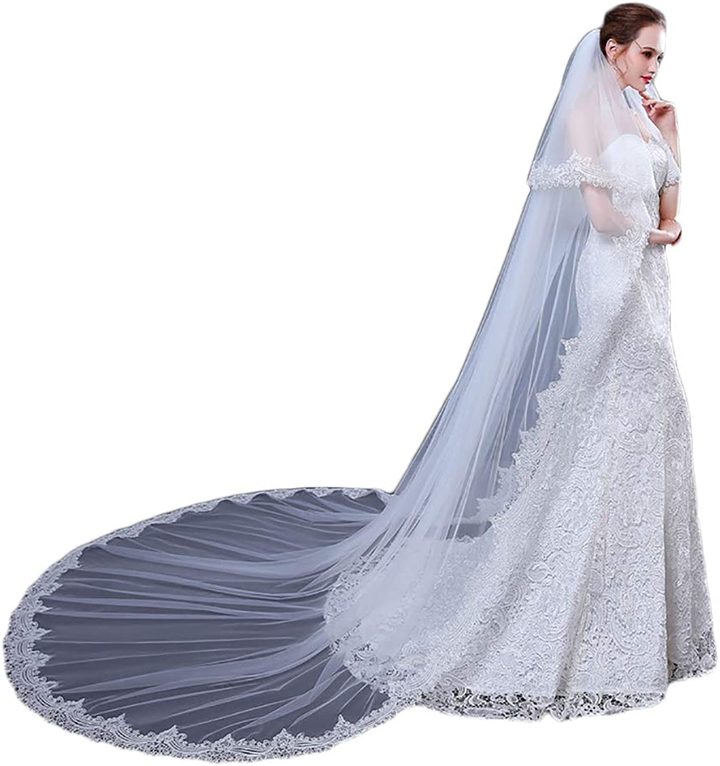 AliceHouse 2T 2 Tier Long Luxury Sequins Flower Cathedral Ivory Wedding Veils 12