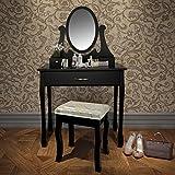 Miadomodo - Secrétaire Coiffeuse Table de Maquillage avec Miroir Pivotant Amovible et Tabouret (Couleur au Choix)