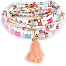 LUREME Bohemian Beads Pearl Tassel Multi Strand Textured Stackable Bangle Bracelet Set(bl003054)