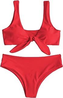 ZAFUL Women Two Pieces Swimwear Swimsuit Knotted Padded Scoop Bikini Sets Beachwear Bathing Suit Camel