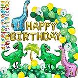 DAYPICKER Decoraciones de Fiesta de Dinosaurio Globos, Banner de Globos de Dinosaurio 20pcs Globos de látex Verde 10pcs...