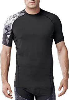 HUGE SPORTS Men's Short Sleeve Compression Shirt Running Fitness Workout Base Layer Cool Dry Compression Top