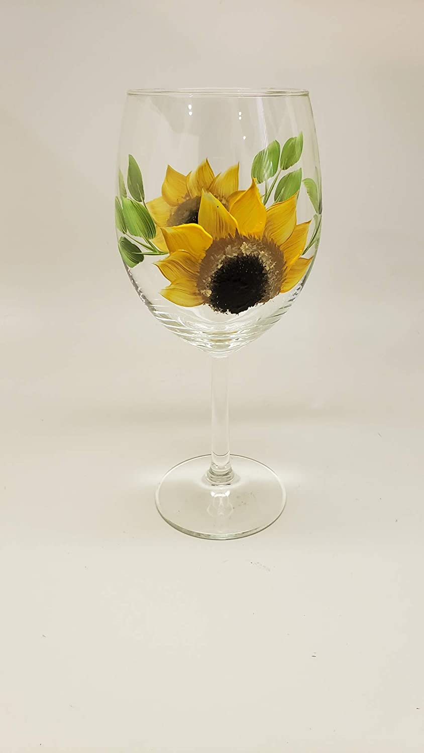 cheap Hand Painted Sunflower Wine Glass 15 Sale Special Price 21 10 stemless oz