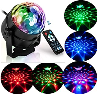 Disco Lights Party Lights Colorful Magic Ball Lights Seven Colors Strobe Lights 7 Modes Sound Activated Remote Control Christmas Family KTV Wedding Show bar car Interior Decoration Good Choice