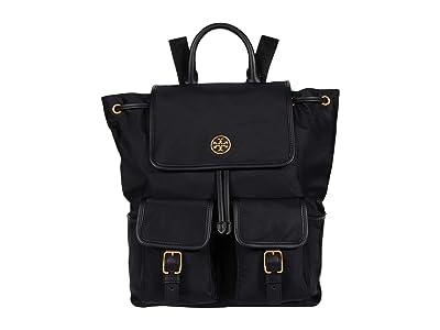 Tory Burch Piper Flap Backpack (Black) Backpack Bags
