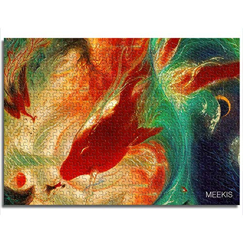 CELLYONE Jigsaw Puzzle 1000 Pieces (Big Red Fish Series) Unique Jigsaw Puzzle Suitable Educational Puzzle Toys DIY Gift for Adults & Kids Challenge
