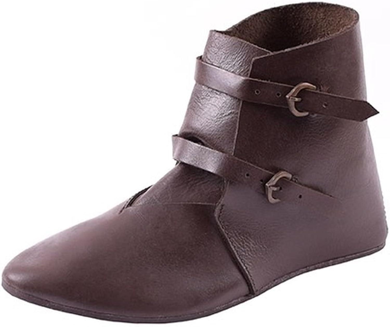 Mittelalterlicher Schnallenschuhe Schnallenschuhe Schnallenschuhe aus Leder dunkelbraun Gr. 39 - 47LARP Wikinger 85ecde
