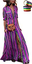 LAMISSCHE Womens Rainbow Loose Button Down Stripes Half Sleeve Maxi Dress with Pockets