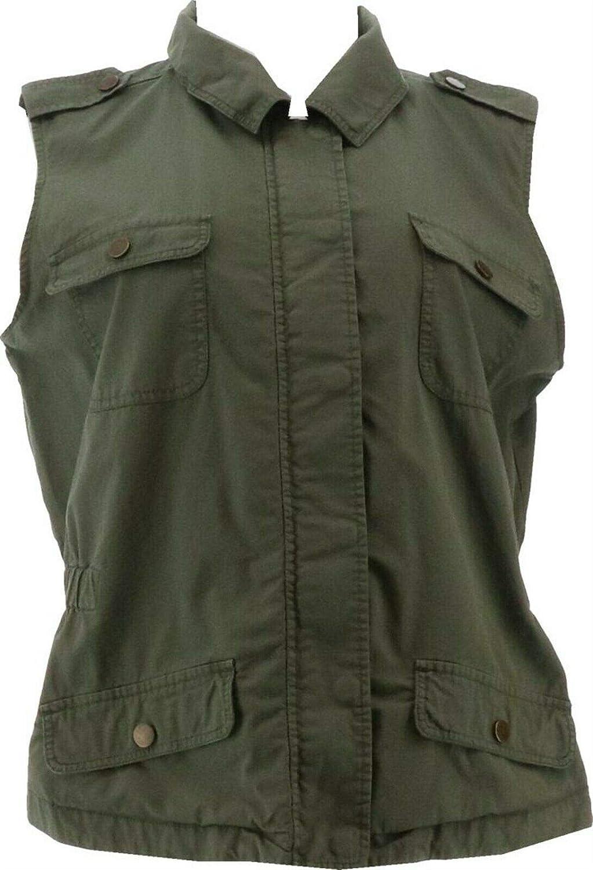 Rachel Hollis Ltd Casual Vest Pockets A365551, Olive, Medium