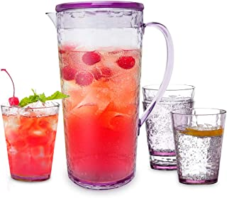 Pitcher & 4 Cups Sets - 1.7Qt BPA-free Drink Pitcher with Lid Shatterproof Juice Pitcher Plastic Pitcher for Juice Iced Tea Lemonade for Breakfast Thanksgiving Dinner Party, Clear-Purple