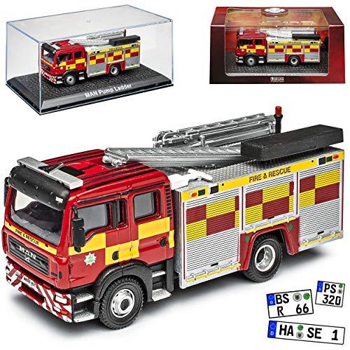Agostini Man F16 Feuerwehr Fire Rescue Rot 1/72 Atlas Modell Auto mit individiuellem Wunschkennzeichen