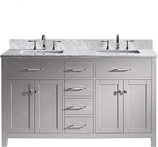 Virtu USA MD-2060-WMSQ-CG-NM Caroline Bathroom Vanity, 60 inches Cashmere Grey