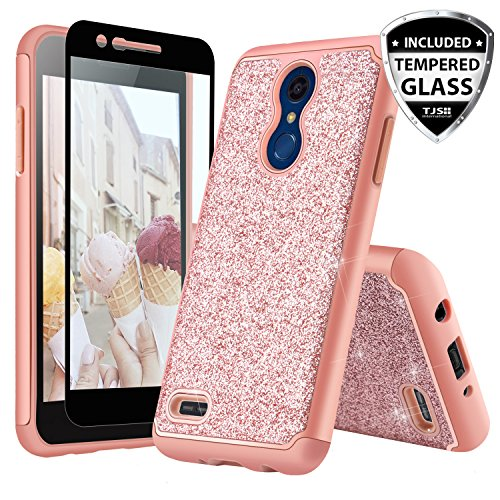 TJS Phone Case for LG K10 2018/K30 2018/Premier Pro LTE/Harmony 2/Phoenix Plus/Xpression Plus, with [Tempered Glass Screen Protector] Glitter Bling Girls Women Dual Layer Heavy Duty Hybrid (Rose Gold)