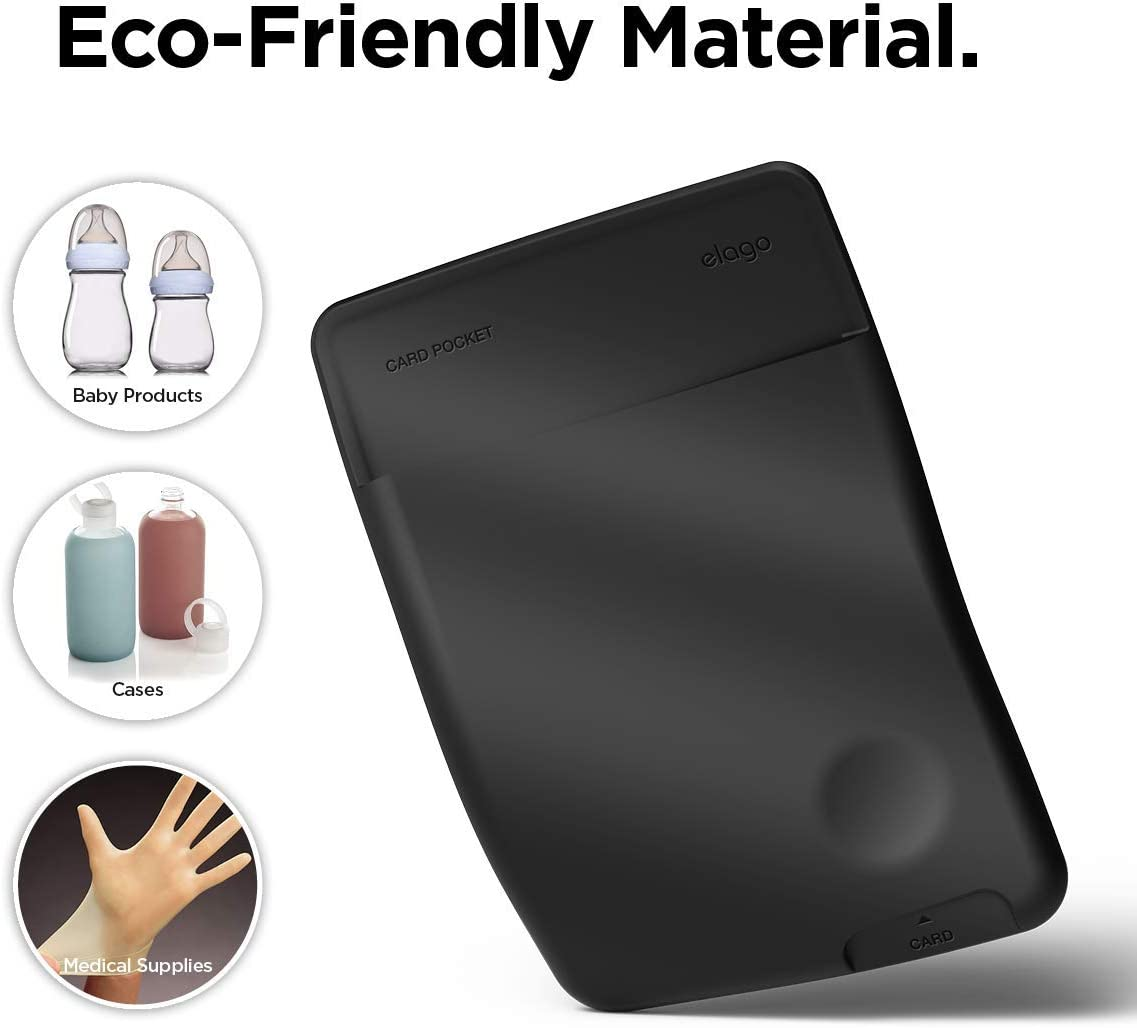 elago Card Pocket [Black] - [Secure Pouch][Non-Toxic Silicone][Ultra Slim] - for iPhone, Galaxy and most smartphones