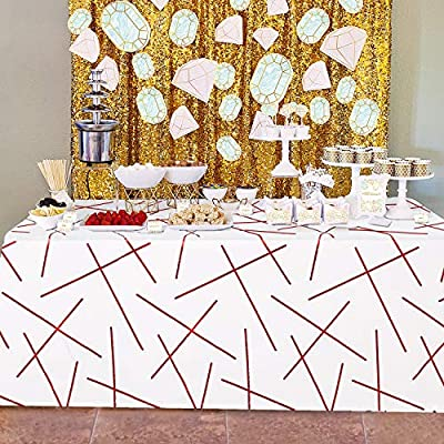 Amazon - Save 50%: Hiasan Red Foil Printed Rectangle Tablecloth – Wrinkle Resistant Washab…