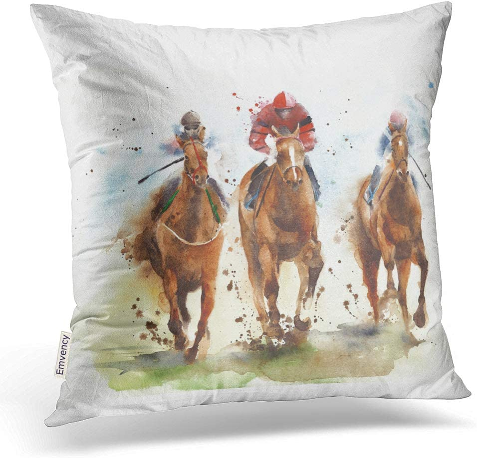 Emvency Throw List price Pillow Covers Horse Challenge the lowest price of Japan Riding Race Sport Comp Jockeys