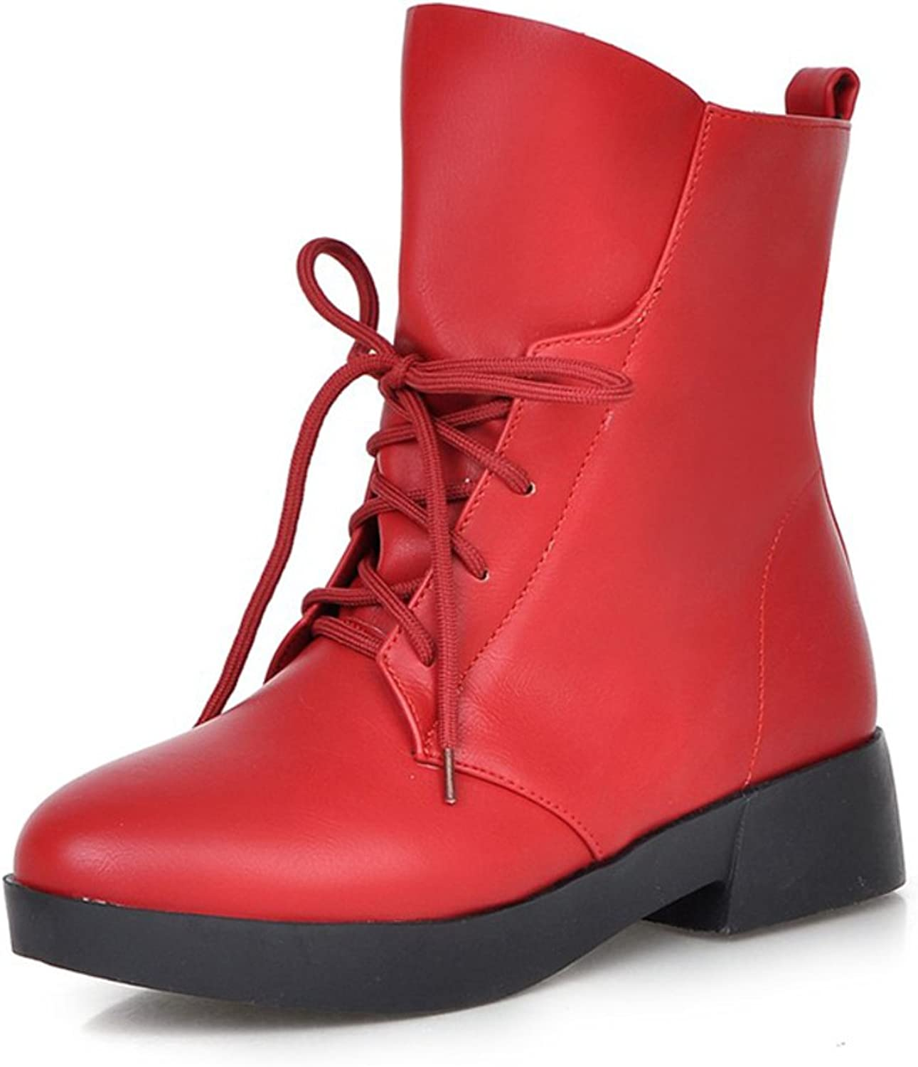 RHFDVGDS leisure Martin boots Ladies with round head in boots autumn and winter boots warm students