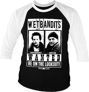 Officially Licensed Wet Bandits Baseball 3/4 Sleeve T-Shirt (Black-White)