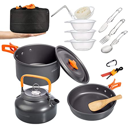 Overmont 1.95 Liter (Pot+ Kettle) Camping Cookware Set 1-2 Person Campfire Kettle Outdoor Cooking Mess Kit Pots Pan for Backpacking Hiking Picnic Fishing with Spork Knife Spoon