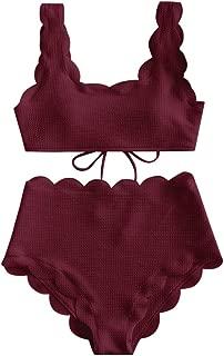 Women's Scalloped Textured Swimwear High Waisted Wide Strap Adjustable Back Lace-up Bikini Set Swimsuit