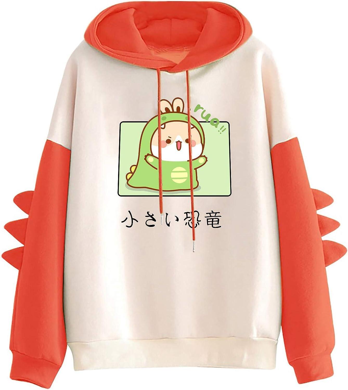 AODONG Sweaters for Women Dinosaur Sweatshirt Long Sleeves Splice Tops Cartoon Cute Hoodies Casual Pullover