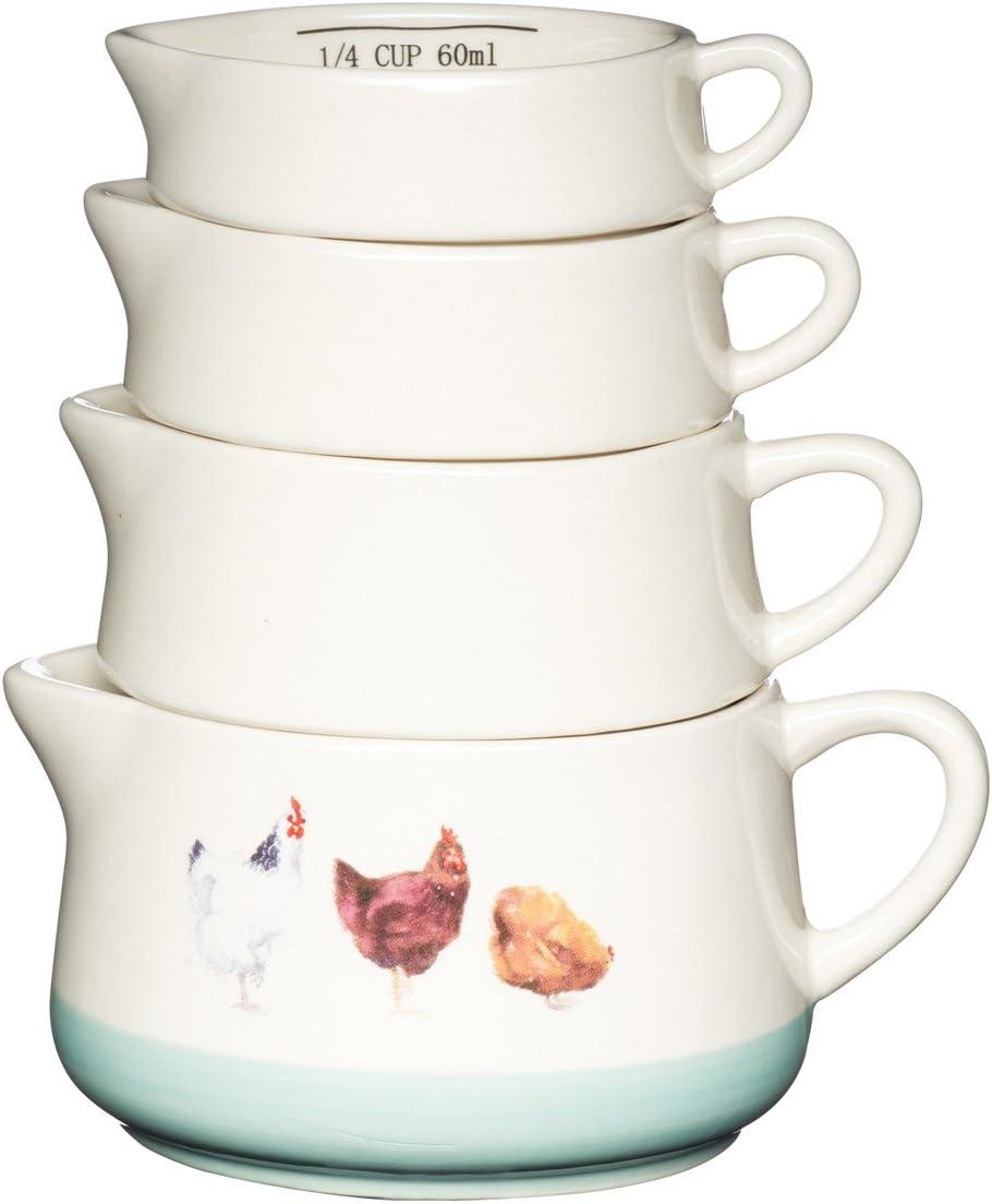 Kitchen Craft Apple Farm - Tazas de Medir, Cerámica, Multicolor, 8.87 x 12 x 13.5 cm, Juego de 4