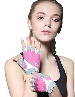 Luwint Women Fingerless Yoga Gloves Non Slip Padded - Barre Pilates Fitness Workout Training Wrist Exercise Accessories