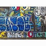 Pared de ladrillo Arte Graffiti fotografía Accesorios de Fondo bebé niño Retrato fotografía Fondo Estudio fotográfico A4 5x3ft / 1,5x1 m