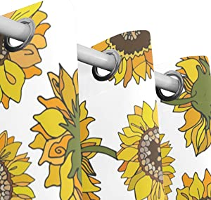 Orediy 2 Panels Blackout Window Curtains Cartoon Sunflower Thermal Insulated Bedroom Living Room Window Treatment Grommet Drapes Home Decor 140x213CM Per Panel