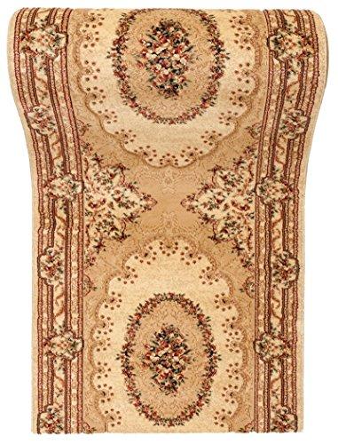WE LOVE RUGS CARPETO Tapis de Passage Couloir sur Mesure - Oriental - 3D Motif - Collection ISKANDER Crème Beige 70 x 275 cm