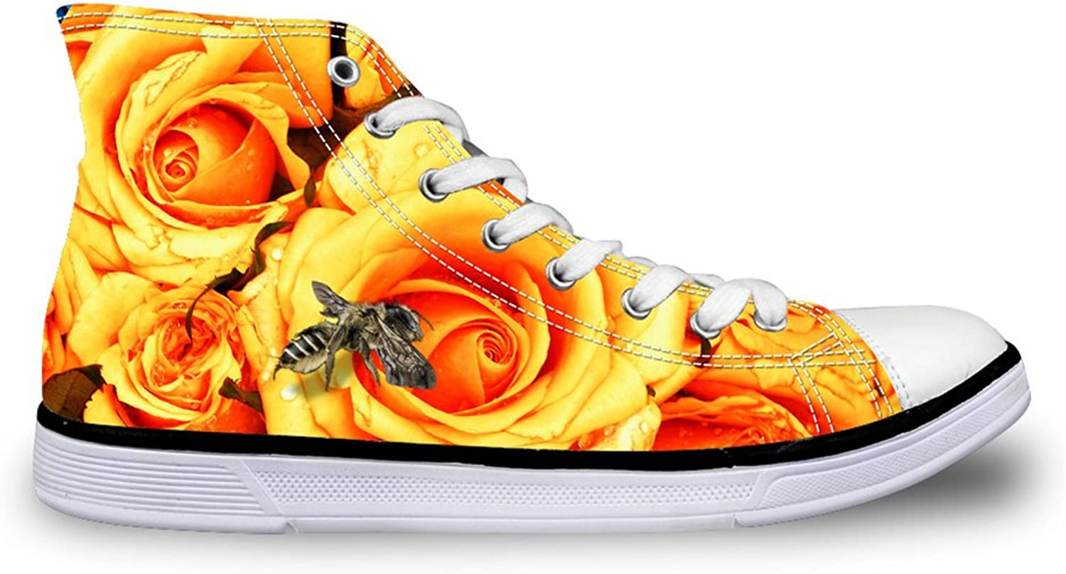 HUGS IDEA Yellow Florals Printed Womens High Top Lace Up Fashion Sneakers US6