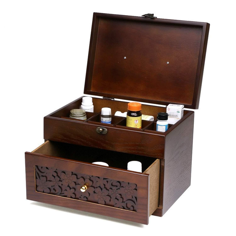 Cajón de madera maciza Tipo Caja de medicina grande para el hogar ...