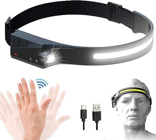 Rechargeable LED Headlamp with 230° Illumination, Motion Sensor Headlamp with 350 Lumens, IPX4 Waterproof, High Effic...