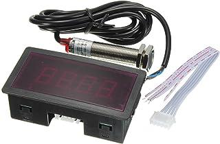 Tachometer   SODIAL(R) LED 4 Digitaler Tachometer RPM Geschwindigkeitsmesser Rot + NPN Hall Proximity Sensor Schalter