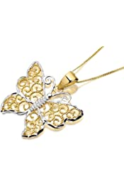 F.Hinds Womens Jewellery Sterling Silver Cubic Zirconia Filigree Locket /& Chain