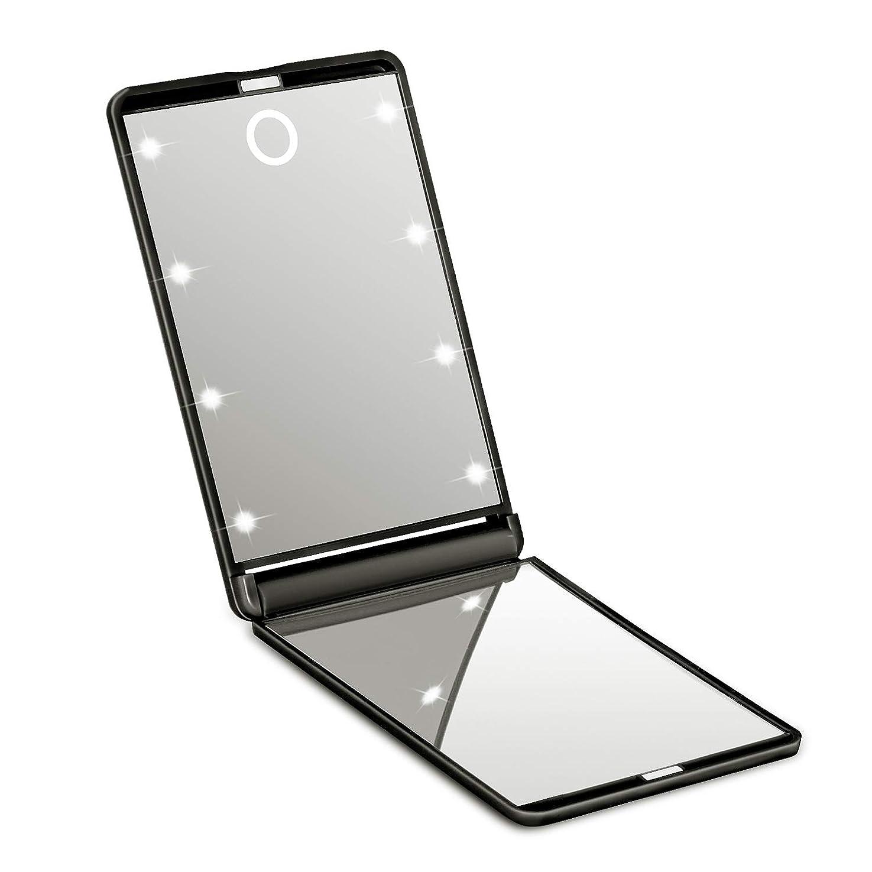 練習層名目上の【2019新版】SOTCAR 化粧鏡 ledミラー 8灯 折りたたみ式 コンパクト 化粧ミラー 女優ミラー 拡大鏡付き手鏡 携帯型 持ち運び便利 可能なスタンドミラー2倍拡大鏡付 明るさ調節可能 (ブラック)