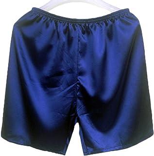 Lynn&Light Underwear Panties Knickers New Men'S Satin Silk Five-Point Shorts Loose Pajamas Classic Solid Boxer Panties Bea...