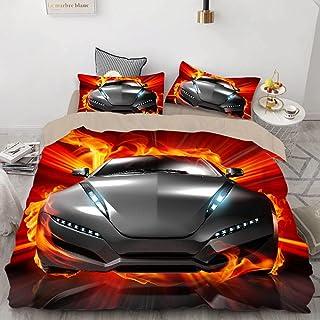 Dubbel påslakanset barnsportbil sängkläder set med 1 örngott lyxigt mjukt påslakan, lyxig mikrofiber (140 x 200 cm)