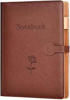 A5 Leather Notebook,SEEALLDE Refillable Composition Notebook Business Notebook with Pocket Travel Diary Conference Folder Notebook 240 Thick Pages Gifts Idea for Partner(Brown A5)