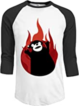 Yudou Men's Kumamon Fire Up Emoji 3/4 Sleeves Baseball T-Shirts