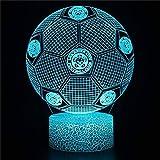 Luz nocturna 3D creatividad ilusión óptica lámpara de fútbol para decoración de bar, grabado, mesa de acrílico, funciona con pilas, cambio de color USB