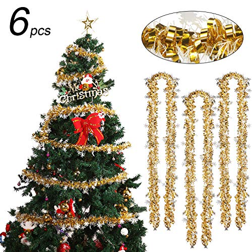 WILLBOND 6 Stück Schneeflocke Weihnachten Lametta 39,4 Fuß Weihnachten Girlande Klassisch Glänzend Soft Lametta für Weihnachtsbaum Kranz Hochzeit Party Bedarf (Gold)