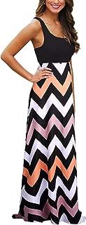 Womens Chevron Tank Dress Loose Maxi Dresses with Pockets Casual Summer Dress