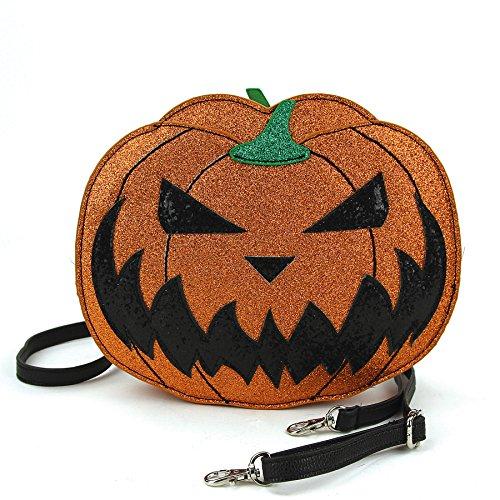 Sleepyville Critters - Zweiseitige Jack O Lantern Crossbody-Tasche, Orange, Einheitsgröße
